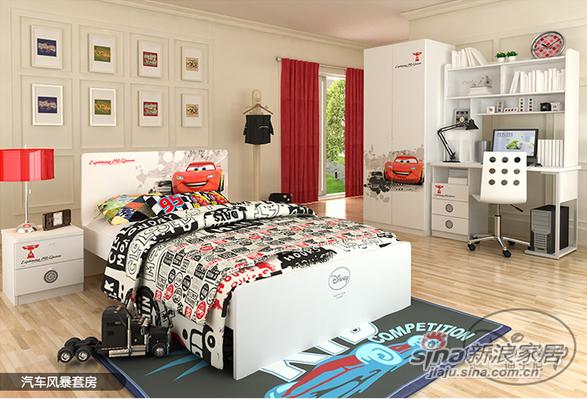 迪士尼汽车风暴儿童单床套房-0