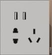 T07双USB五孔插座深空灰