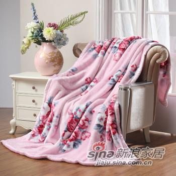 水星家纺 冬季加厚双层拉舍尔温馨宜人盖毯 -0