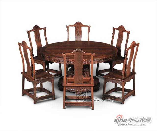 连天红花卉纹葵花式桌七件套-2