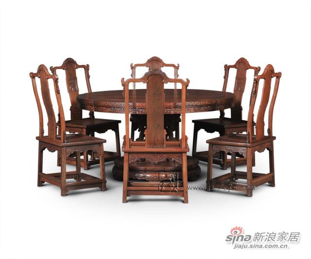 连天红花卉纹葵花式桌七件套-3