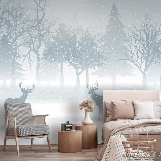凝素_雪花松林麋鹿北欧简约碧画简约北欧风格背景墙_JCC天洋墙布