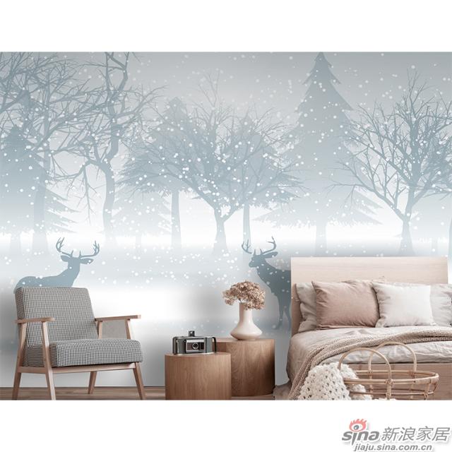凝素_雪花松林麋鹿北欧简约碧画简约北欧风格背景墙_JCC天洋墙布-1