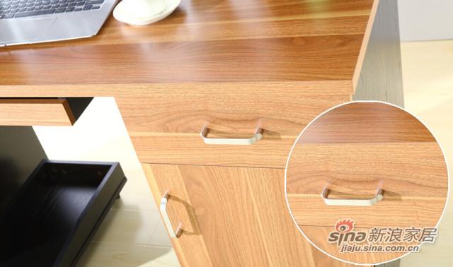 现代简约浅胡桃色橡胶木板木书台-2