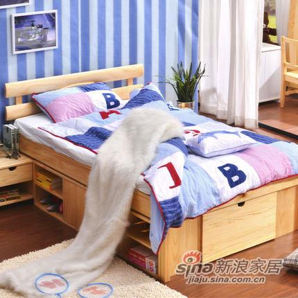 喜梦宝实木床1.35米实木高箱床简约韩式田园床松木床储物床单人床-0