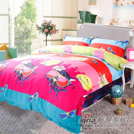 紫罗兰家纺 纯棉斜纹卡通四件套床单式套件-0