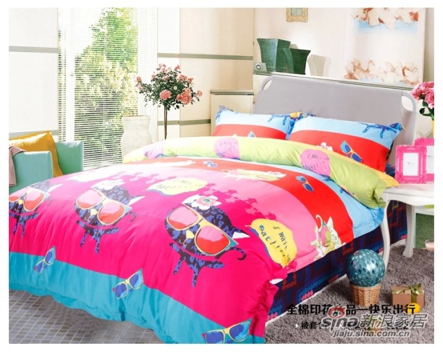 紫罗兰家纺 纯棉斜纹卡通四件套床单式套件-1