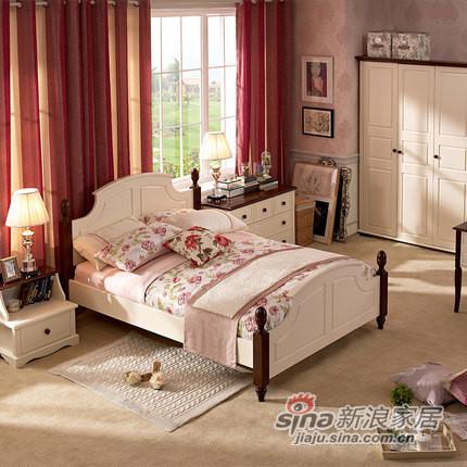 喜梦宝进口松木实木家具新法式田园三件套 双人床 + 床头柜 +衣柜