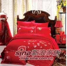紫罗兰家纺床上用品全棉绣花婚庆八件套相亲相爱PC8018-8-0