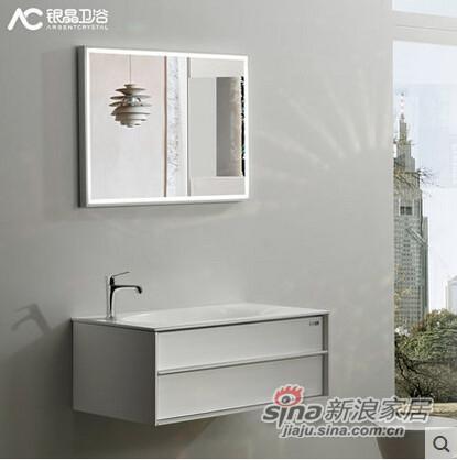 AC银晶 0.8米宽 多层实木 白色 多功能储物空间 悬挂 浴室柜组合