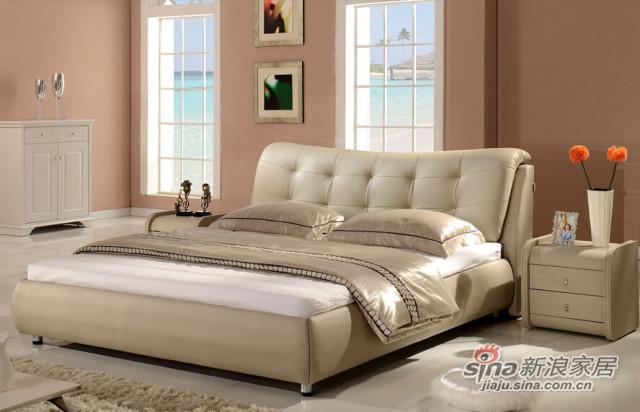 梵尔特系列现代简约米白色真皮软床-0
