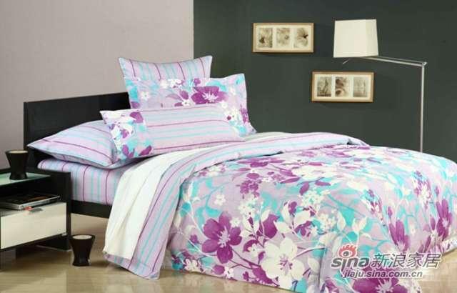 富安娜圣之花缎纹印花床单四件套和风絮语-0