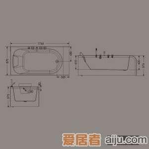 惠达-HD1311龙头浴缸(双面裙边)1