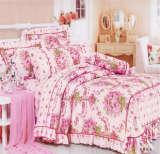 红富士床上用品高级全棉印花四件套伊朗之花红