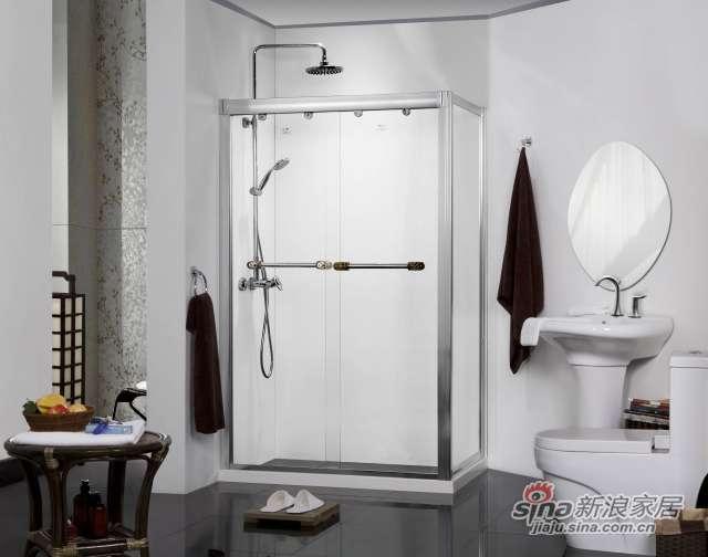 L形双趟门带缓冲推拉门淋浴房