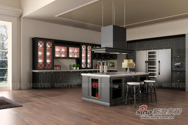 黑色描银实木整体橱柜 大型开放式厨房-0