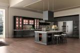 黑色描银实木整体橱柜 大型开放式厨房