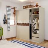 科凡烤漆移门整体板式卧室衣柜 上下水洗白橡中间胡桃芯CY018