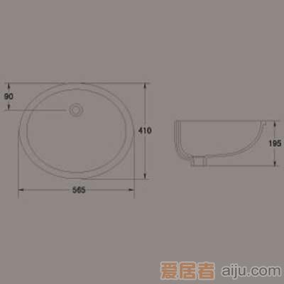 惠达椭圆形HD1台下盆/洗手池/面盆1