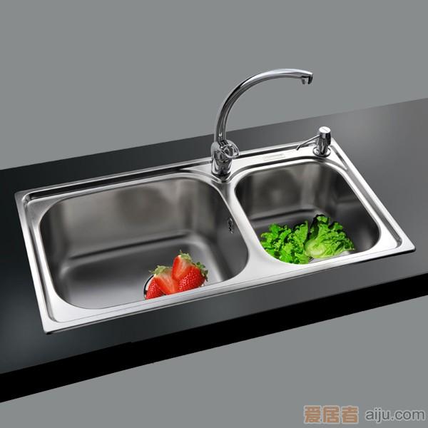 GORLDE优质不锈钢水槽/洗菜池 银莱茵系列2028FL(大小盆)1