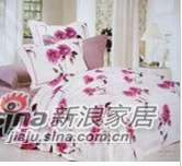 明超雅薇家纺粉色恋人纯天然丝质贡缎提花印花纯棉四件套-0