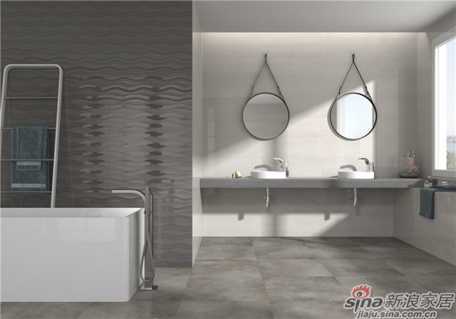(250x750)、(600x600)两种不同的砖体规格,用黄色系与灰色系打造出简约平面、精致雕花、3D线条效果,分别让人感受到不简单的简约、雅致不凡的精雕、不流于表面的柔美线条。