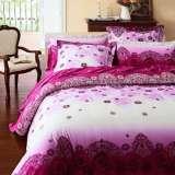 罗莱家纺全棉缎纹印花双人床单婚庆六件套情盟