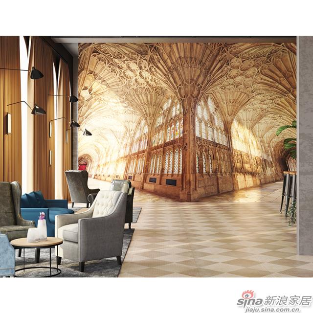 爱乐之城_金黄色欧式建筑空间壁画饭店、咖啡馆壁画背景墙_JCC天洋墙布
