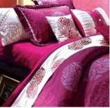 紫罗兰家纺床品全棉活性印花婚庆五件套花团锦簇PC6029-5