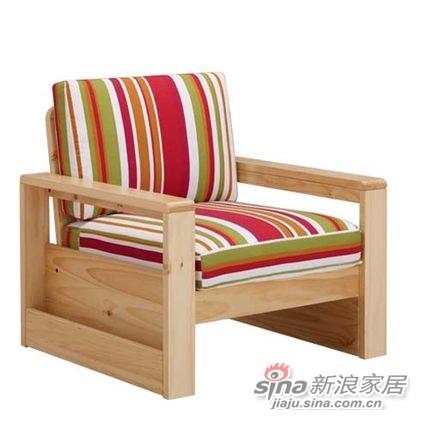 喜梦宝客厅简约现代田园实木沙发组合单人布艺沙发松木沙发配坐垫-0