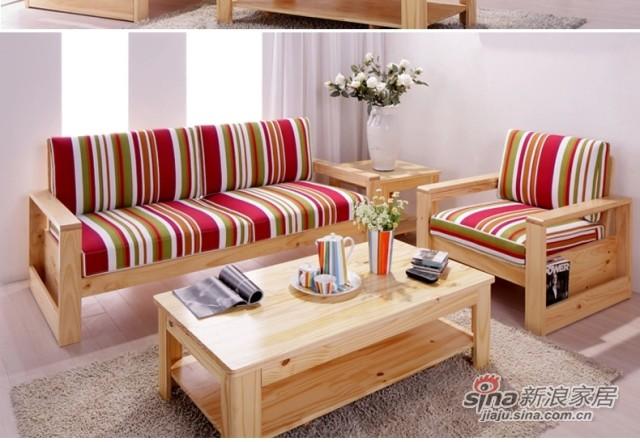 喜梦宝客厅简约现代田园实木沙发组合单人布艺沙发松木沙发配坐垫-1
