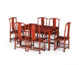 连天红团螭纹长桌七件套