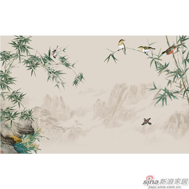 竹报平安_云雾远山,翠竹鸟啼壁画中式花鸟风格背景墙_JCC天洋墙布-1