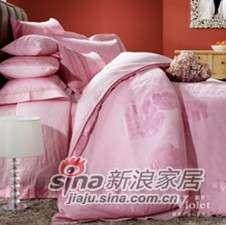 紫罗兰家纺婚庆粉色仿丝棉四件套幸福约定VPEA516-4-0