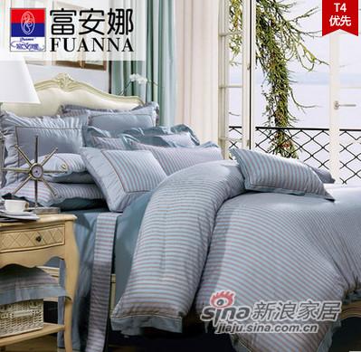 富安娜家纺 美式全棉四件套床上用品4件套印花时尚套件-0