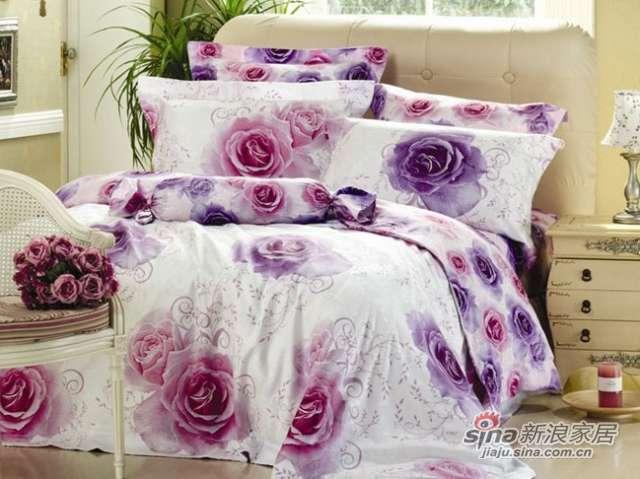 新货上市富安娜圣之花提花印花床单四件套雨香玫瑰-0