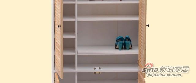 喜梦宝实木鞋柜防尘鞋橱鞋架简约隔断高鞋柜百叶简易组合松木鞋柜-2