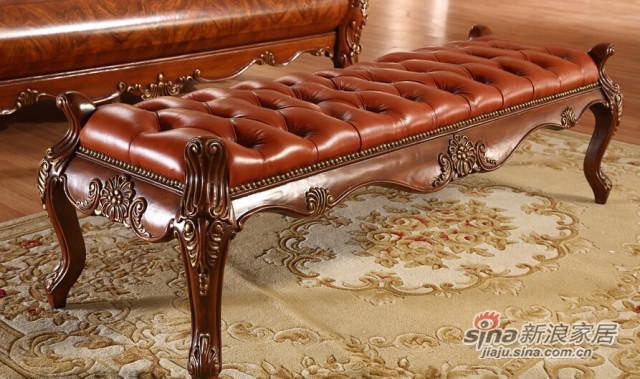 安妮皇后美式古典樱桃色黄杨木床尾凳-1