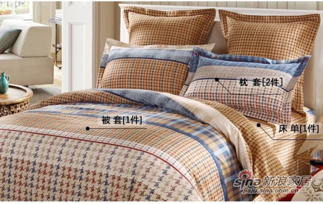 lovo全纯棉磨毛床单四件套件-2