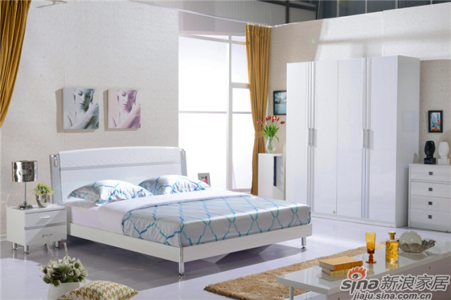 岁月留香系列-Q23026床+Q2301-2床头柜+Q23026四门衣柜