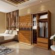 科凡烤漆移门整体板式卧室衣柜 金丝楠木+竖纹西皮 CY015