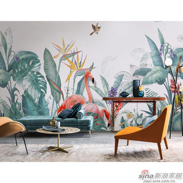 丛林秘语_火烈鸟行走在热带植物花丛图案自然花鸟背景墙_JCC天洋墙布