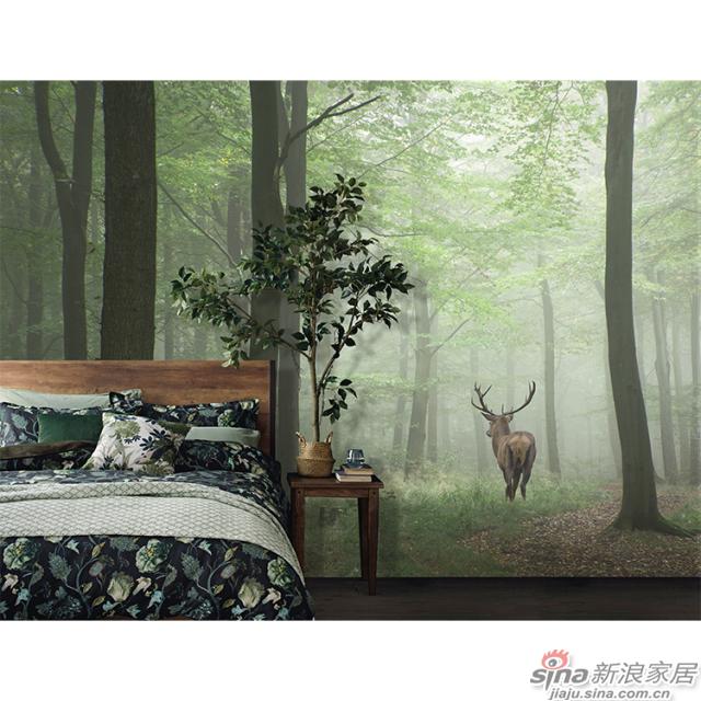 忘忧森林_森林稀疏阳光下麋鹿前行图案自然风光家装\办公室壁画背景_JCC天洋墙布