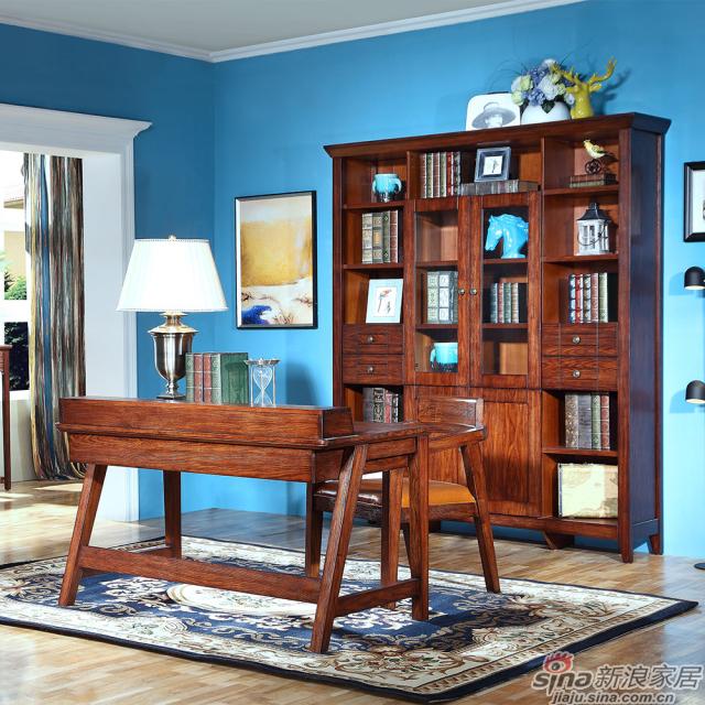 巴克庄园S5051#四门书柜、s5053#书桌、S5054#办公椅