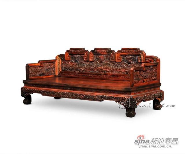连天红云龙纹三人椅-1