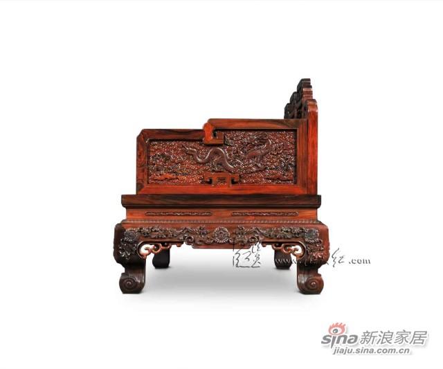 连天红云龙纹三人椅-2