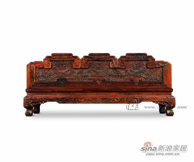 连天红云龙纹三人椅-3