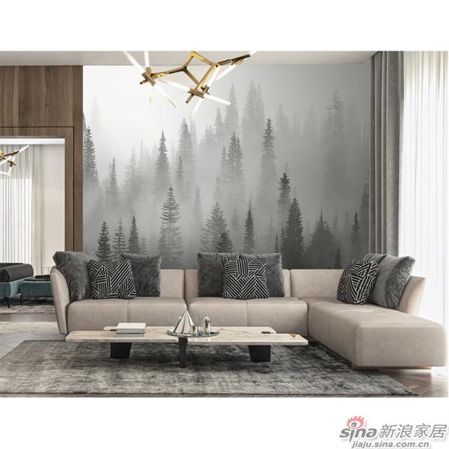 雾朦晨曦_灰色晨雾松林壁画办公室\大厅壁画背景墙_JCC天洋墙布