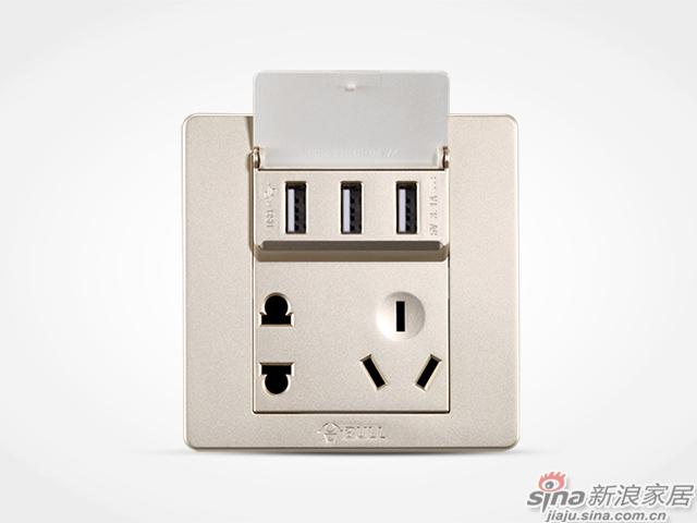 公牛墙壁式3位usb充电插座-1