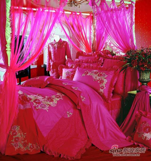 富安娜馨而乐婚庆床品红色斜纹纯棉床裙八件套玫瑰人生-0